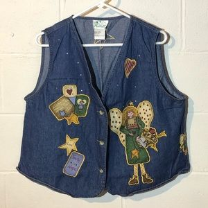 Quacker Factory 1X Country Angel Patch Denim Vest